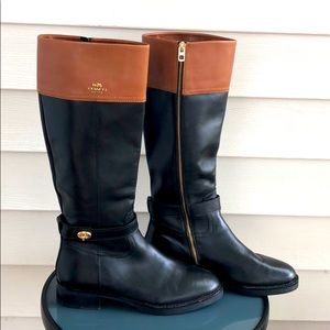 Coach High Boot EVA Skinny Calf Black/Saddle 9.5